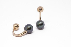 Rose gold earrings with green peacock pearls