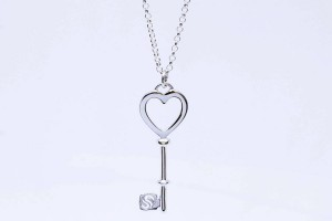 Silver heart key pendant
