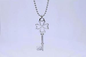 Pendente chiave quadrifoglio in argento