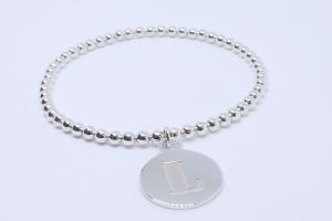 Silver elastic bead bracelet