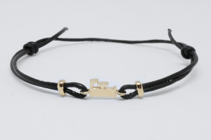 Rose gold bracelet with cotton waxed