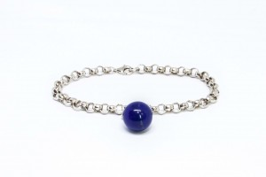Bubble Collection Silver  rolò bracelet with white lapis pendant