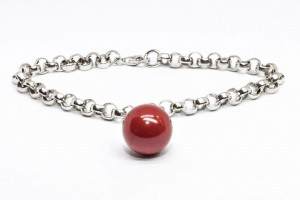 Bubble collection Silver rolò bracelet with coral paste  pendant
