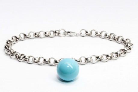 Bubble collection Silver rolò bracelet with turquoise paste pendant.