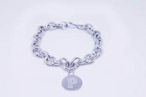 Bracciale catena in argento con pendente Logo