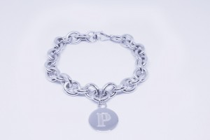 Silver chain bracelet with Name pendant