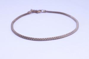 Bracciale in argento rosato con catena agganciata