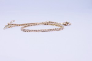 Rose gold tennis bracelet with diamonds