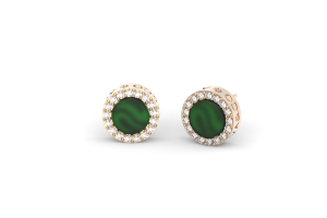 Rose gold earrings with green agate and diamonds