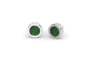 White gold Earrings with green agate