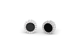 White gold earrings with onyx and diamonds