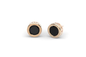 Go.Bu Collection Rose gold earrings with black onyx