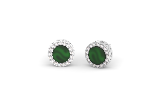 White gold earrings with green agate and diamonds