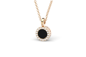 Rose gold pendant with onyx and diamonds