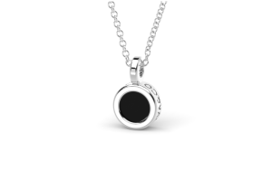 Go.Bu Collection White gold pendant with onyx