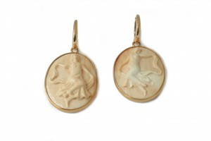 Rose gold cameo earrings