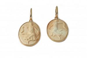 Rose gold cameo earrings