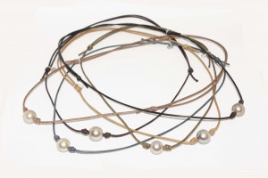 Beach Collection waxed cotton cord necklace with tahitian pearl