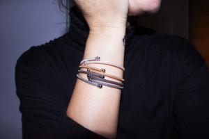 Golden Silver rigid bracelet