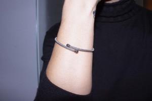 Silver rigid bracelet ruthenium color