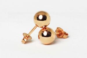 Rose silver sphere earrings