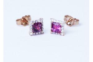 Orecchini in oro rosa con diamanti e rubellite