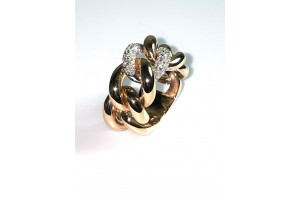 Rose gold and white gold Grumetta ring with diamonds