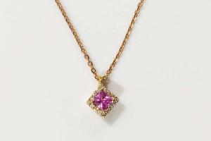 Collezione Square Pendente in oro rosa con diamanti e zaffiro rosa