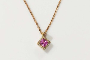 Square Collection Rose gold pendant with diamonds and pink sapphire
